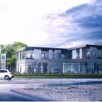 Construction d'un bâtiment de showroom et de bureaux